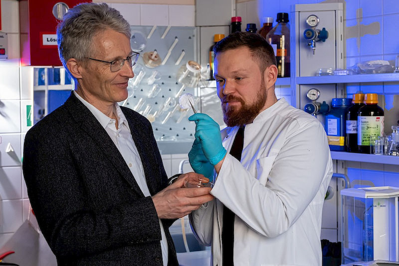 The institute's director Karsten Mäder (left) and Benedikt Göttel are working on better ways to package active ingredients that are transported in the human body.
